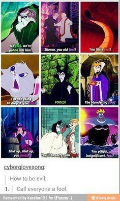 "It's not a Disney villain if there r no "" fools"". I swear almost ALL the Disney villains say that word! AND Elsa was originally gonna be the villain. So if u wanna be a villain call everyone a fool! Disney Pixar, Walt Disney, Disney Jokes, Funny Disney Memes, Disney Facts, Disney Villains, Disney Animation, Disney And Dreamworks, Disney Magic"