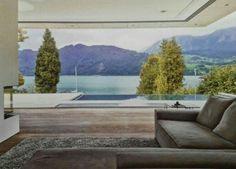 Moderne woning zwembad uitzicht op meer aanbouw keuken