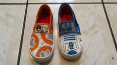 Star Wars Hand Painted Canvas Shoes Fan Art Tribute  These shoes are a womans size 10 though they seem to run a tiny bit small. If the shoe is
