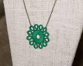 Kachin Necklace (Tatted Flower in Jade and Bronze, by Christine)