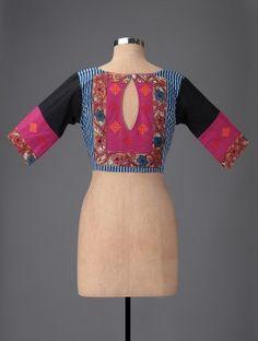 Black-Pink Embroidered Hand-painted Kalamkari Cotton Blouse