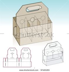 Glasses and Brewery Storage Box with handle and Die-cut Pattern Layout