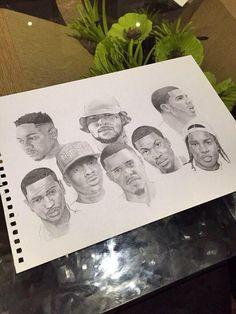 Cole in the middle. My idol! Trill Art, Hip Hop Art, African American Art, Dope Art, Urban Art, Black Art, Art Hoe, Oeuvre D'art, Cool Drawings