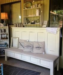 theshabbycottagehome.com one of a kind furniture  restyled vintage finds. My old headboard turned into a gorgeous bench!!