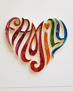 Quilled Paper Art: Family Love Couple Love Paper Wall Art Home Decor Wall Decor Paper Anniversary Quilled Art Love Family Quilling Letters, Quilling Work, Paper Quilling Patterns, Quilled Paper Art, Quilling Paper Craft, Paper Crafts, Quiling Paper, Paper Letters, Neli Quilling