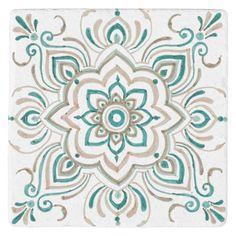 Teal Vintage Spanish tile coaster - home decor design art diy cyo custom