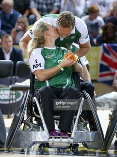 Zara Phillips kisses Johnny Wilkinson during an Exhibition wheelchair rugby match at the Copper Box ahead of tonight's exhibition match as part of the Invictus Games at Queen Elizabeth park on September 12, 2014 in London, England. The International sports event for 'wounded warriors', presented by Jaguar Land Rover, is just days away with limited last-minute tickets available at www.invictusgames.org