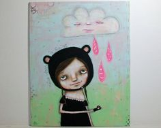 whimsical girl painting bear folk art mixed by thesecrethermit, $40.00