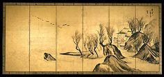 Nagasawa Rosetsu . Landscape and Chinese Figures (Kaihei kisyô zu byôbu, 海浜奇勝図屏風)- (right) Edo period TYPE: Pair of six-panel folding screens; ink on gilded paper DIMENSIONS: 67 3/8 x 146 3/4 in. (171.1 x 372.7 cm) Collection of The Metropolitan Museum of Art