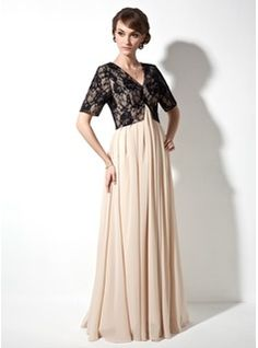 A-Line/Princess V-neck Floor-Length Ruffle Zipper Up Sleeves Short Sleeves Champagne Fall General Plus Chiffon Lace Mother of the Bride Dress