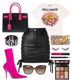 """🐆💕"" by abekkali ❤ liked on Polyvore featuring Gucci, Balenciaga, Yves Saint Laurent, Versus, Moschino, Linda Farrow, Charlotte Tilbury, NARS Cosmetics, Huda Beauty and MAC Cosmetics"