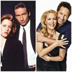The X Files then and now...Gillian Anderson (looks  amazing) and David Duchovney