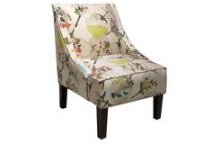 Chinoiserie Chic - Quinn Swoop-Arm Chair, Cream - Watercolor fabric pattern