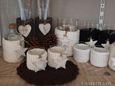 Pretty candle cosies