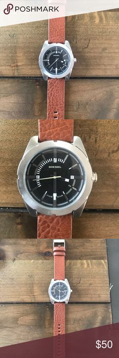 Diesel Watch NWOT Diesel 5 bar Watch. Never worn. Adjustable genuine leather strap. Silver with a stainless steel back. Protective cover still on back. Diesel Accessories Watches