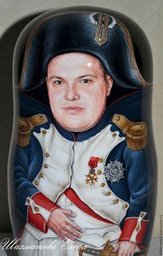 """Купить Портретная матрешка """"Наполеон"""" - комбинированный, Наполеон, портрет на заказ, портрет по фото, портретная кукла"""
