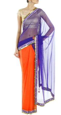 ARPITA MEHTA Indigo and orange sari with a mirror work border