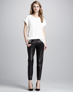 Cap-Sleeve Crepe Tee & Cropped Leather Pants by Vince at Neiman Marcus.