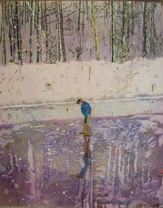 peter doig LOVE the ripples on the ice!! to me it almost has an art nouveau feel!