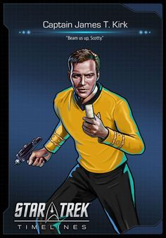 We're proud to announce our first variant of Captain James Tiberius Kirk in Star Trek Timelines! While we'll have three versions of Kirk at launch, this week we've chosen the iconic (and quite handsomely heroic) original series Captain Kirk. Scotty Star Trek, Star Trek Tv, Star Trek Ships, Star Wars, Vaisseau Star Trek, Star Trek Quotes, Star Trek Captains, Star Trek Original Series, Star Trek Characters