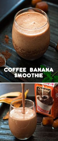 Just like your favorite coffee shop treat this Coffee Banana Smoothie is rich chocolatey and wonderfully frothy. Dunkin At Homes Bakery Series Chocolate Glazed Donut Coffee blend helps give this creamy breakfast drink a level of indulgent flavor tha Smoothie Drinks, Breakfast Smoothies, Healthy Smoothies, Healthy Drinks, Healthy Recipes, Healthy Desserts, Coffee Banana Smoothie, Banana Coffee, Healthy Coffee Smoothie