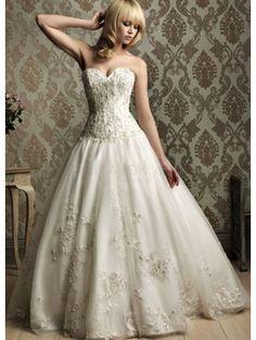 Beautiful Ivory Strapless Sweetheart A-line Yarn Wedding Dress
