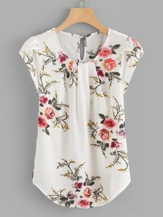 SheIn offers Petal Sleeve Florals Blouse & more to fit your fashionable needs. Plus Floral Print Cut Out Blouse -SheIn(Sheinside) Flower Print Keyhole Back Curved Hem Blouse -SheIn(Sheinside) Floral Asymmetrical Elegant Summer Blouse Women's Work Tops fo Floral Tops, Diy Kleidung, Petal Sleeve, Tulip Sleeve, Ruffle Sleeve, Pleated Fabric, Summer Blouses, Blouse Online, Shirts Online