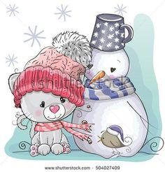 Illustration about Cute Cartoon Kitten in a knitted cap and snowman. Illustration of image, kitten, painting - 79366168 Tatty Teddy, Kitten Cartoon, Cute Cartoon Animals, Cute Animals, Illustration Mignonne, Cute Illustration, Christmas Clipart, Christmas Art, Cartoon Drawings