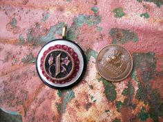 vintage antique button pendant jewerly black by Suddendeersighting, $21.00