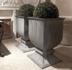 - 'Chester' English lead urn planter on pedestal foot Urn Planters, Square Planters, Container Plants, Container Gardening, Outdoor Landscaping, Outdoor Gardens, Landscape Design, Garden Design, Pot Jardin