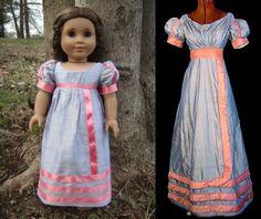 1820 Blue/Peach-Pink Silk Regency Dress (Replica of Antique Dress) for American Girl Dolls - by Morgan May @ Stardust Dolls