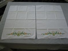 Pair Of Vintage Pillow Cases with Autumn Color Embroidered Flowers, Crochet Edge