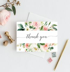 Pink Floral Thank You Cards, Bridal Shower Thank You Note Cards, Baby Shower Thank You Card, Wedding Thank You Card, Garden Notecards BSL - Pink Floral Thank You Cards Bridal Shower Thank You Note Diy Note Cards, Thank You Note Cards, Wedding Thank You Cards, Diy Cards, Your Cards, Card Wedding, Thank You Greeting Cards, Handmade Thank You Cards, Business Thank You Cards