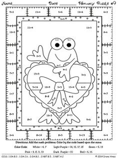 Fabulous February Fun ~ Winter Math Printables Color By The Code Puzzles Maths Puzzles, Math Worksheets, Math Activities, Coloring Worksheets, Colouring Pics, Coloring Book Pages, Coloring For Kids, Frog Theme, Basic Math