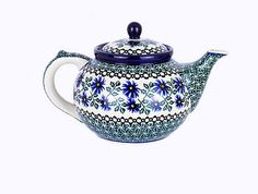 Hand Decorated Teapot by Blue Dot Pottery