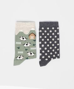 Cow & Polka Dot Socks #oysho #socks