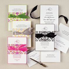 Delightfully Damask Wedding Invitation - All in One Wedding Invitations