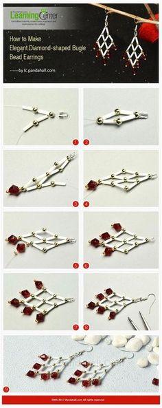 Seed Bead Jewelry, Bead Jewellery, Seed Bead Earrings, Dangle Earrings, Diamond Earrings, Jewlery, Beaded Earrings Patterns, Beading Patterns, Beaded Bracelets