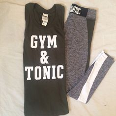 "VS Olive Workout Set ""Gym & Tonic"" PINK Grey marled Ultimate Legging with Olive accents in size XS + Olive Muscle Tee with graphic ""gym and tonic"" in size XS.  Both new with tags. PINK Victoria's Secret Pants Leggings"
