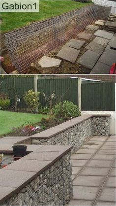 gabion wall with concrete pavers as a capping http://www.gabion1.co.uk