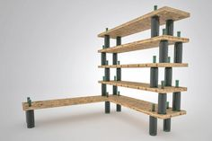 'wine bottle shelf' uses recycled wine bottles combines with wood shelves to create a modular shelving system fishbol design atelier is a c.