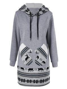 Christmas Pullover Hoodie With Reindeer Patterned