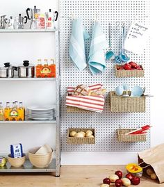 Peg board for kitchen.