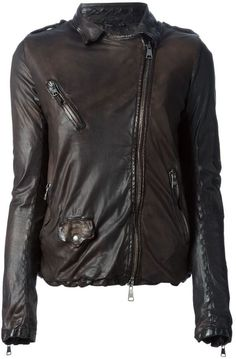 Dark Brown Leather Biker Jacket by Giorgio Brato. Buy for $1,187 from farfetch.com