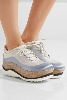 Miu Miu - Satin, Mesh And Cork Platform Sneakers - Light gray - IT36.5