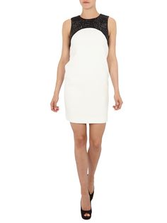 Michael Kors Two-Tone-Kleid mit Ziersteinbesatz - Offwhite