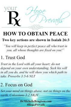 How to obtain peace. Isaiah 26:3 holds the key. Trusting in God and keeping your thoughts fixed on God. Christian Inspirational Quote. Bible Verse. Scripture.