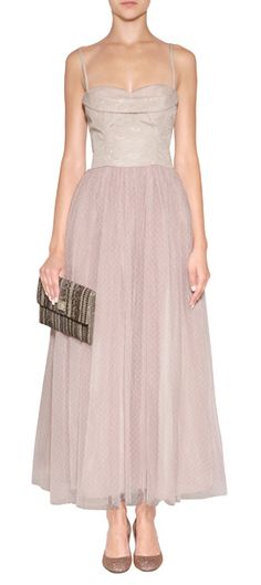Frothy layers of pale pink tulle lend an ethereal look to this gauzy evening gown from RED Valentino #Stylebop