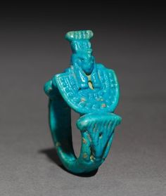 Ring with Aegis of Nepthys, 945-715 BC Egypt, Third Intermediate Period, Dynasty 22 turquoise faience