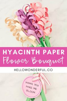 Giant DIY Paper Hyacinth Flower Bouquet. Mother's Day Crafts for Kids